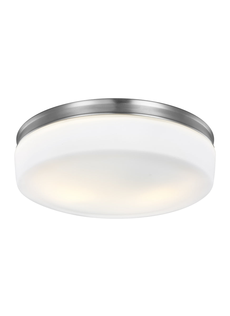 "14""W Issen 2-Light Flush Mount Satin Nickel"