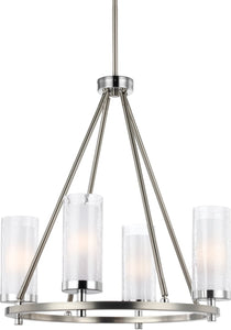 Feiss Jonah 4-Light Chandelier Satin Nickel / Chrome F29844SNCH