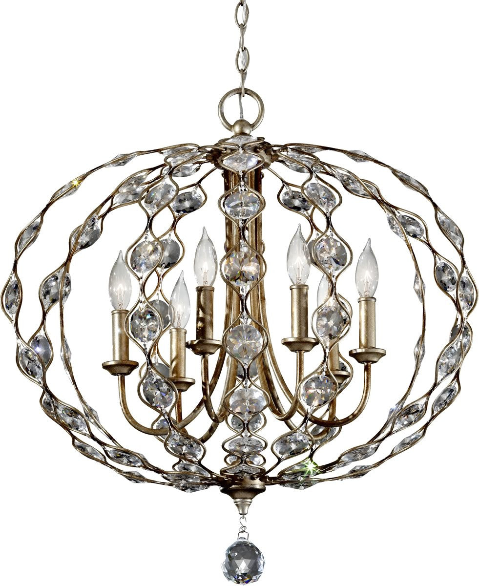 "28""w Leila 6-Light Chandelier Burnished Silver"