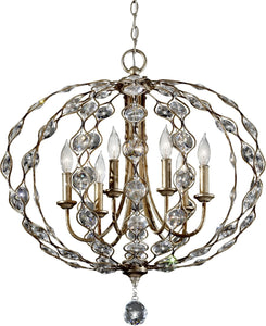 Feiss Leila 6-Light Chandelier Burnished Silver F27406BUS