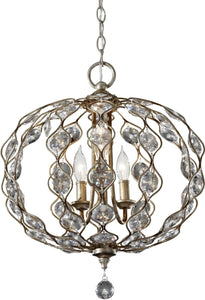 "19""w Leila 3-Light Chandelier Burnished Silver"