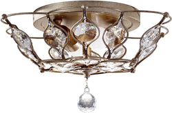"16""w Leila 2-Light Flush Mount Burnished Silver"
