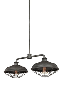 Feiss Lennex 2-Light Island Chandelier Slate Grey Metal