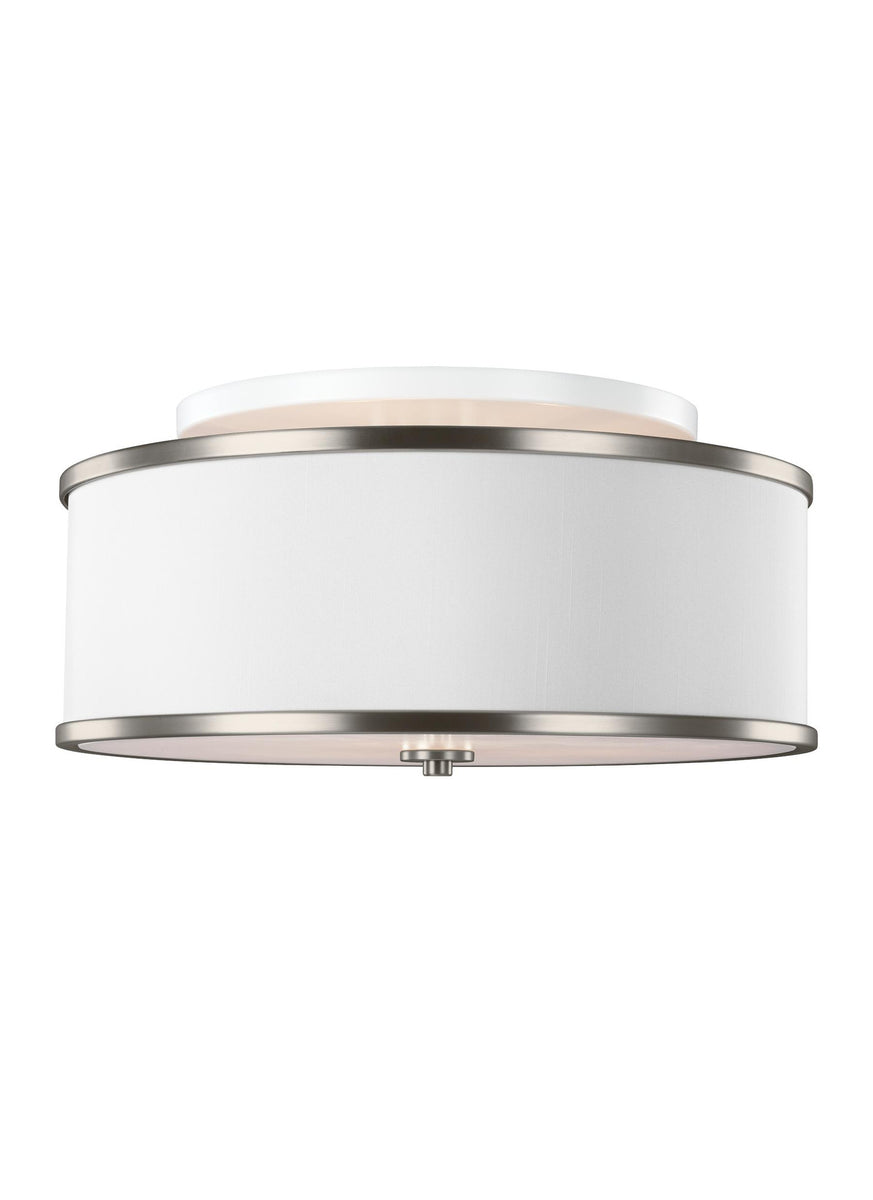 "20""W Lennon 3-Light Semi-Flush Mount Satin Nickel"