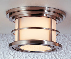 "10""w Lighthouse Brushed Steel Flush Mount"