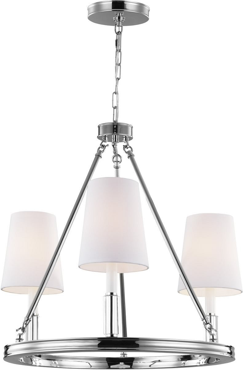 "23""W Lismore 3-Light Chandelier Polished Nickel"