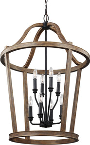 Feiss Lorenz 8-Light Chandelier Weathered Oak Wood F30408WOW
