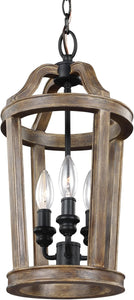 Feiss Lorenz 3-Light Mini Pendant Weathered Oak Wood F30293WOW