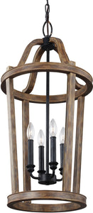Lorenz 4-Light Pendant Weathered Oak Wood