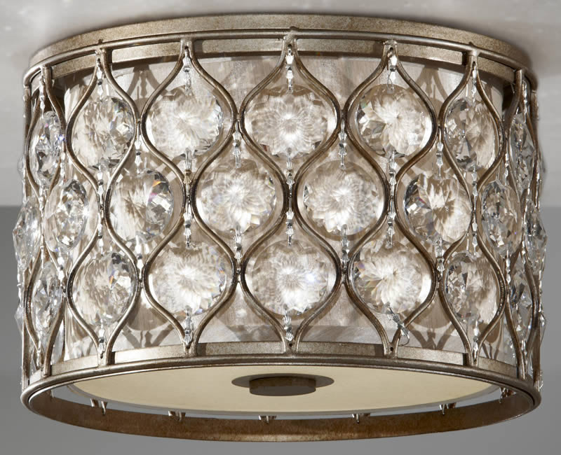 "12""W Lucia 2-Light Flush Mount Burnished Silver"