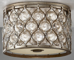 Feiss Lucia 2-Light Flush Mount Burnished Silver FM355BUS