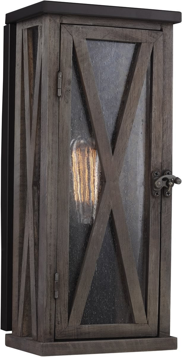 "15""H Lumiere 1-Light Outdoor Wall Light Dark Weathered Oak / Oil Rubbed Bronze"