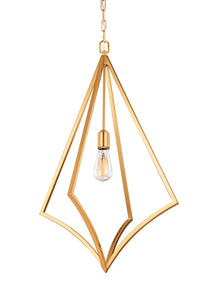 Feiss Nico 1-Light Large Pendant Burnished Brass