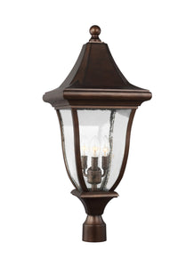 Feiss Oakmont 3-Light Outdoor Post Lantern Patina Bronze