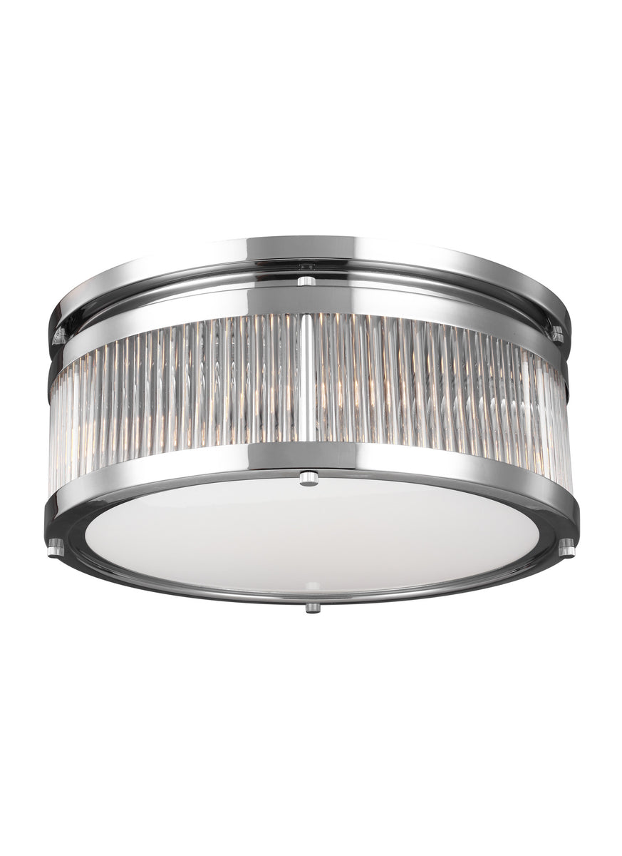 "15""W Paulson 3-Light Flush Mount Chrome"