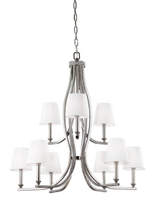 "33""W Pave 9-Light Chandelier Polished Nickel"