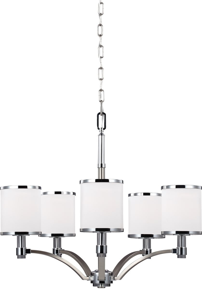 "25""W Prospect Park 5-Light Chandelier Satin Nickel / Chrome"