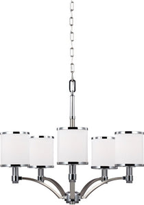 Feiss Prospect Park 5-Light Chandelier Satin Nickel / Chrome F30845SNCH