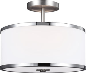 "13""W Prospect Park 2-Light Semi-Flush Mount Satin Nickel / Chrome"