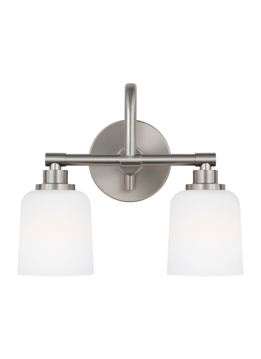 "14""W Reiser 2-Light Bath Vanity Satin Nickel"