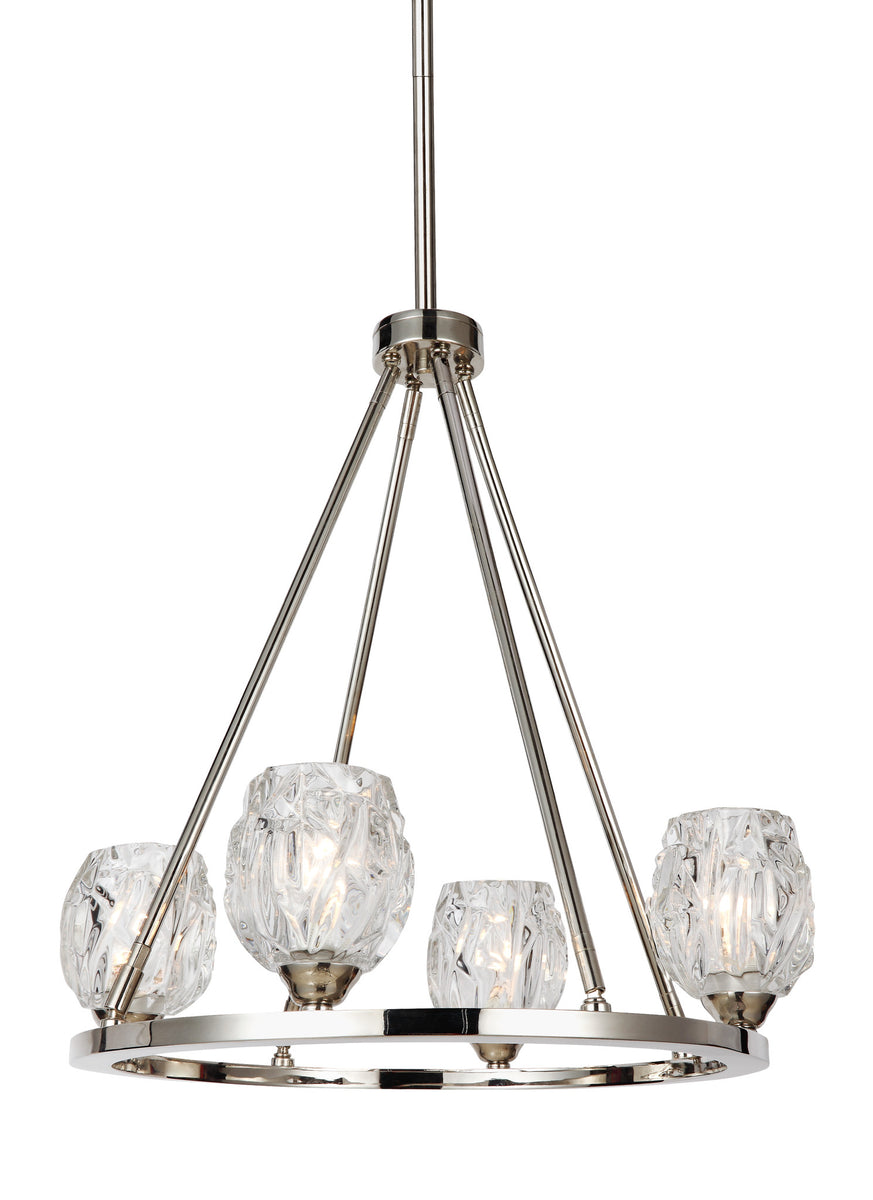 "21""W Rubin 4-Light Chandelier Polished Nickel"