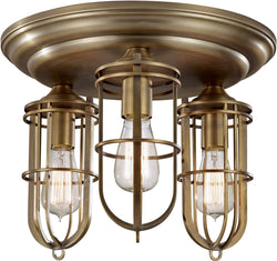 Feiss Urban Renewal 3-Light Flush mount Dark Antique Brass FM378DAB