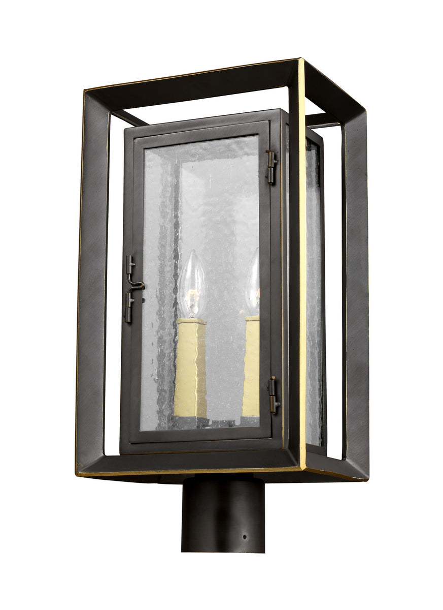 "19""H Urbandale 2-Light Outdoor Post Lantern Antique Bronze/Painted Burnished Brass"