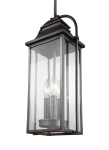 Feiss Wellsworth 3-Light Outdoor Pendant Lantern Antique Bronze