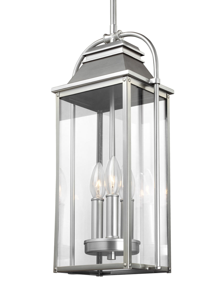 "9""W Wellsworth 3-Light Outdoor Pendant Lantern Painted Brushed Steel"