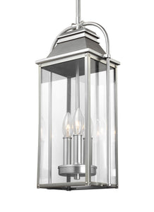 Feiss Wellsworth 3-Light Outdoor Pendant Lantern Painted Brushed Steel