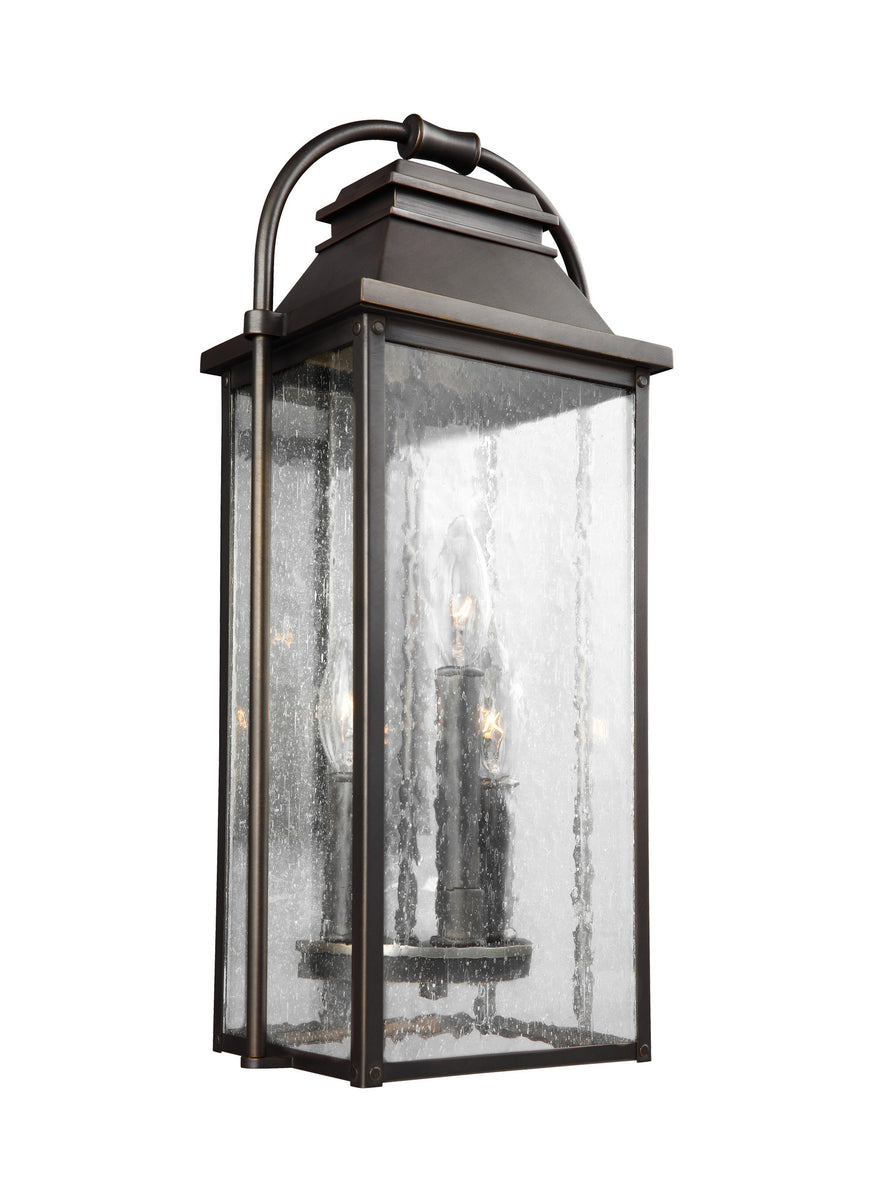 "18""H Wellsworth 3-Light Outdoor Wall Lantern Antique Bronze"
