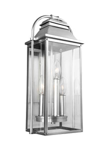 Feiss Wellsworth 3-Light Outdoor Wall Lantern Painted Brushed Steel