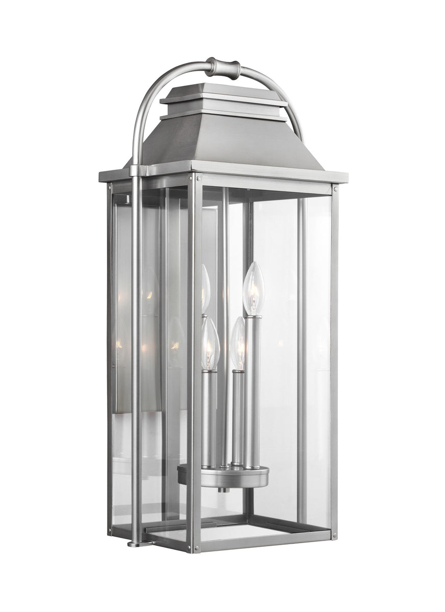 "27""H Wellsworth 4-Light Outdoor Wall Lantern Painted Brushed Steel"