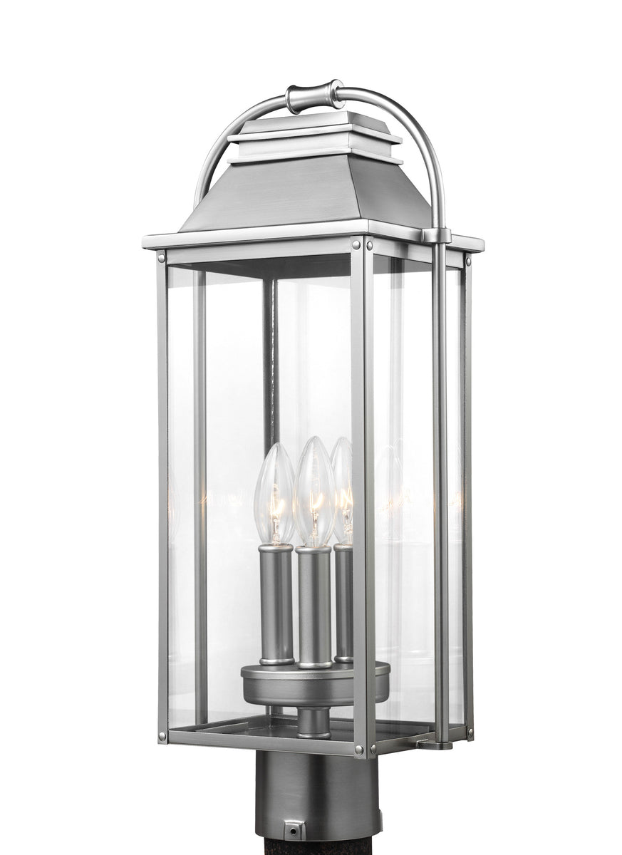 Wellsworth 3-Light Post Lantern Painted Brushed Steel