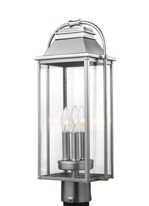 Feiss Wellsworth 3-Light Post Lantern Painted Brushed Steel