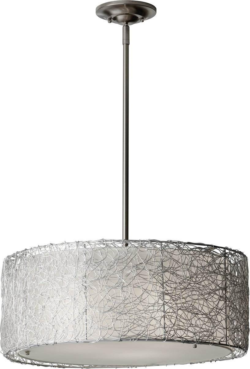 "20""w Wired 3-Light Chandelier Brushed Steel"