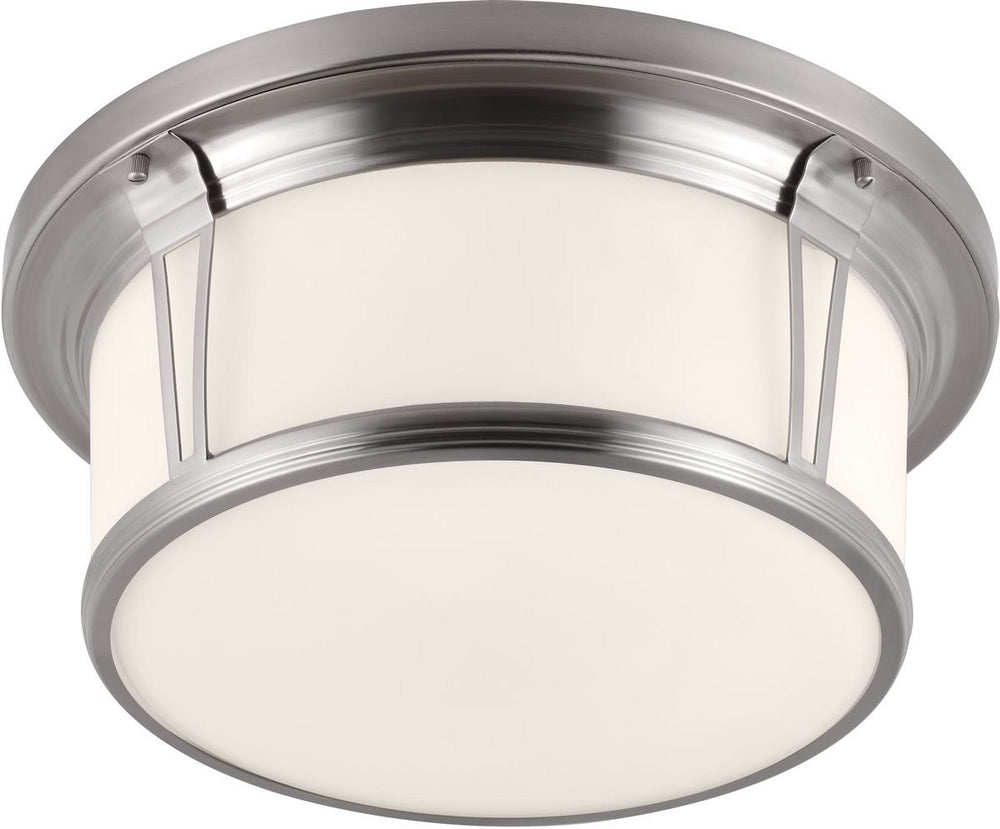 "17""W Woodward 3-Light Flush Mount Brushed Steel"