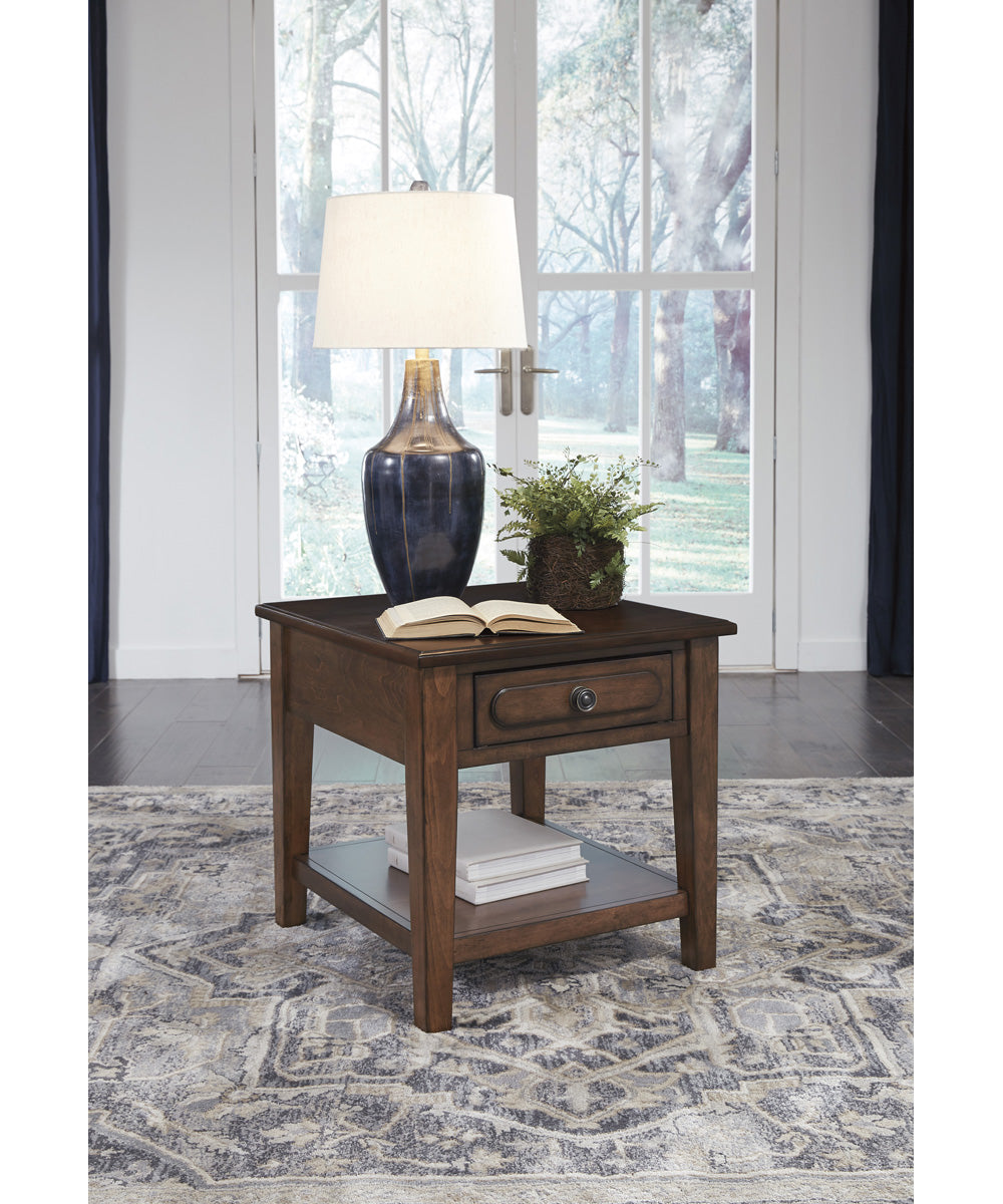 "24""H Adinton Rectangular End Table Reddish Brown"