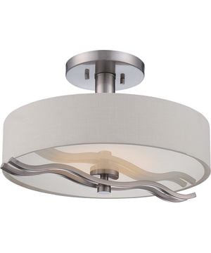"16""W Wave 1-Light Close-to-Ceiling Brushed Nickel"