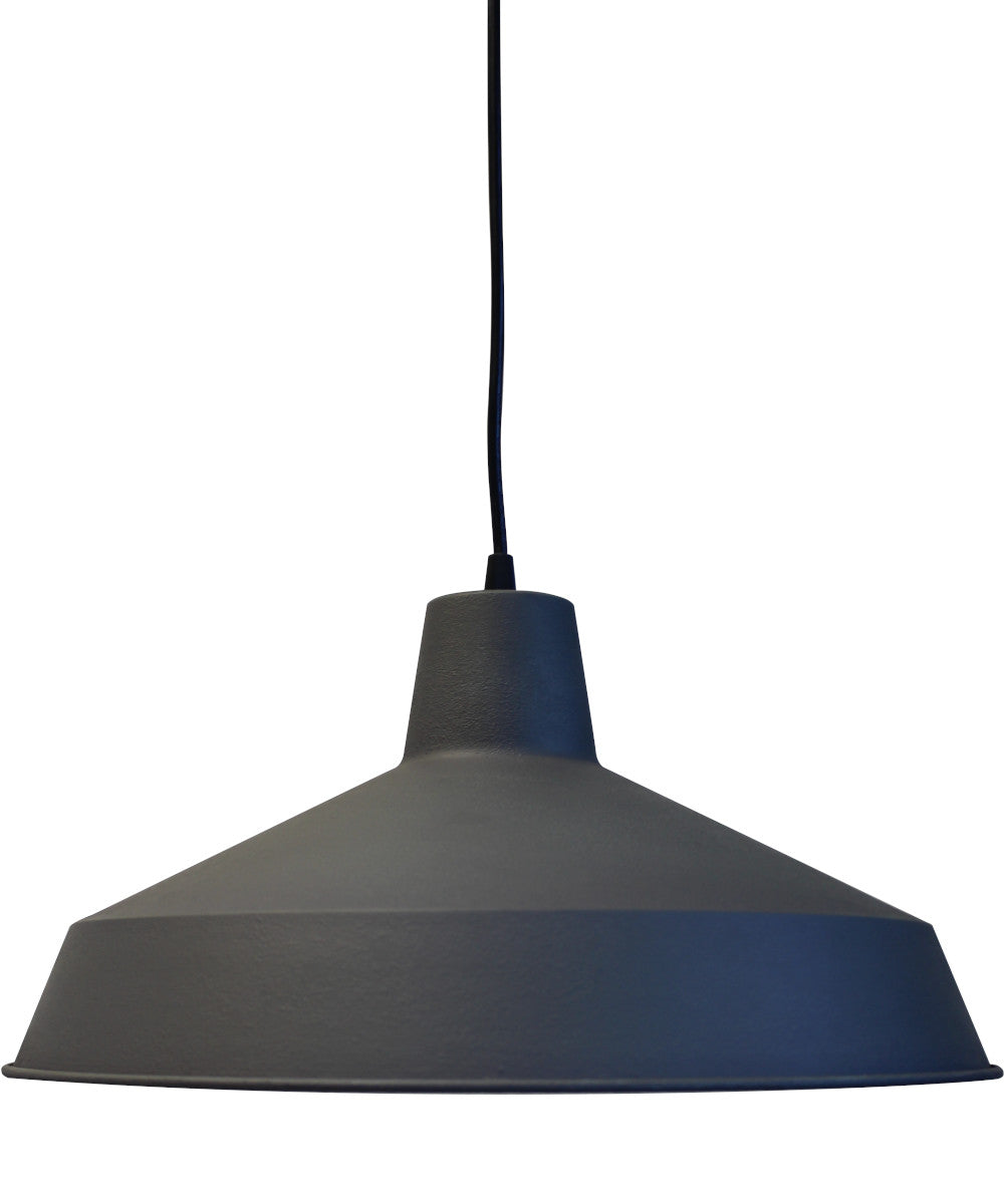 "16""W 1-light Metal Pendant ide Zinc Distressed Gray Finish"