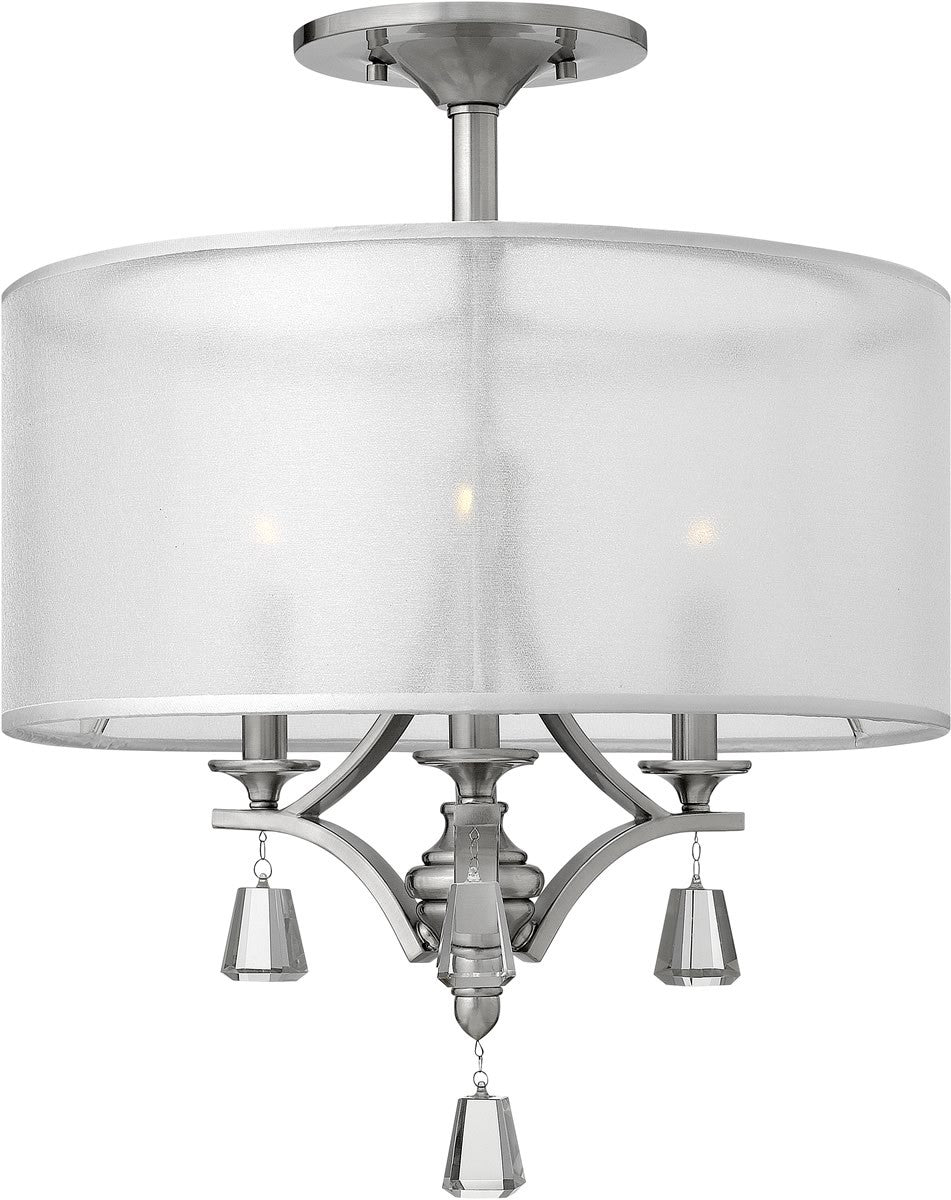 "18""W Mime 3-Light Chandelier Brushed Nickel"