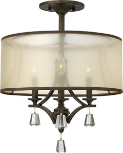 "18""w Mime 3-Light Chandelier French Bronze"