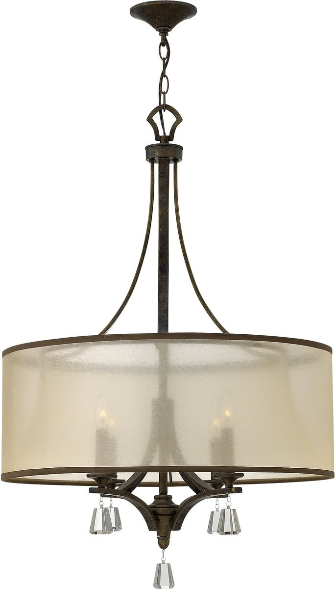 "24""w Mime 4-Light Chandelier French Bronze"