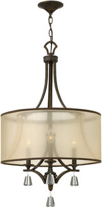 "19""w Mime 3-Light Chandelier French Bronze"