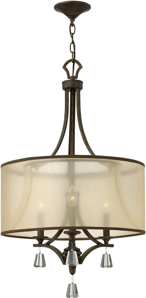 Fredrick Ramond Mime 3-Light Chandelier French Bronze FR45606FBZ