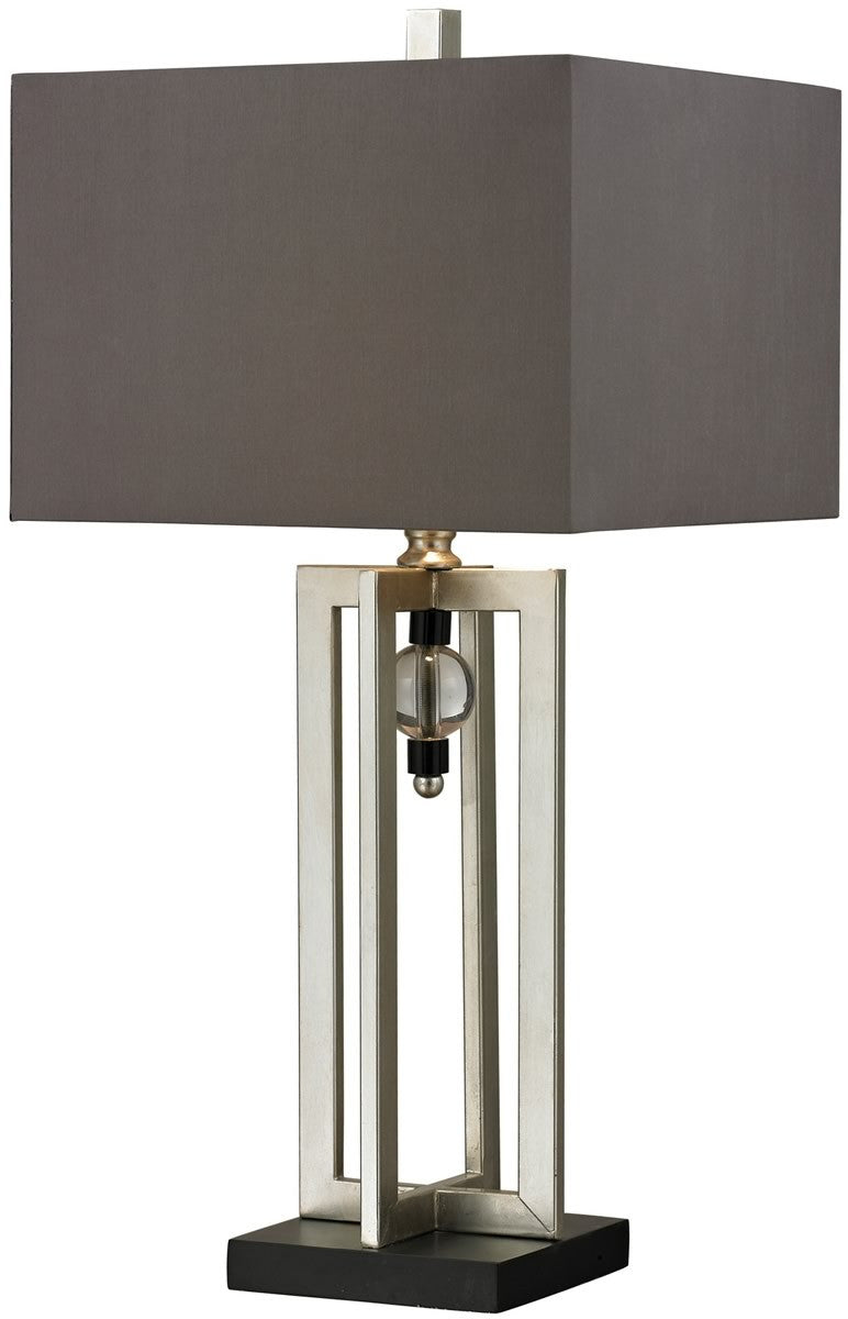 "30""H 1-Light 3-Way Table Lamp Silver Leaf/Black"
