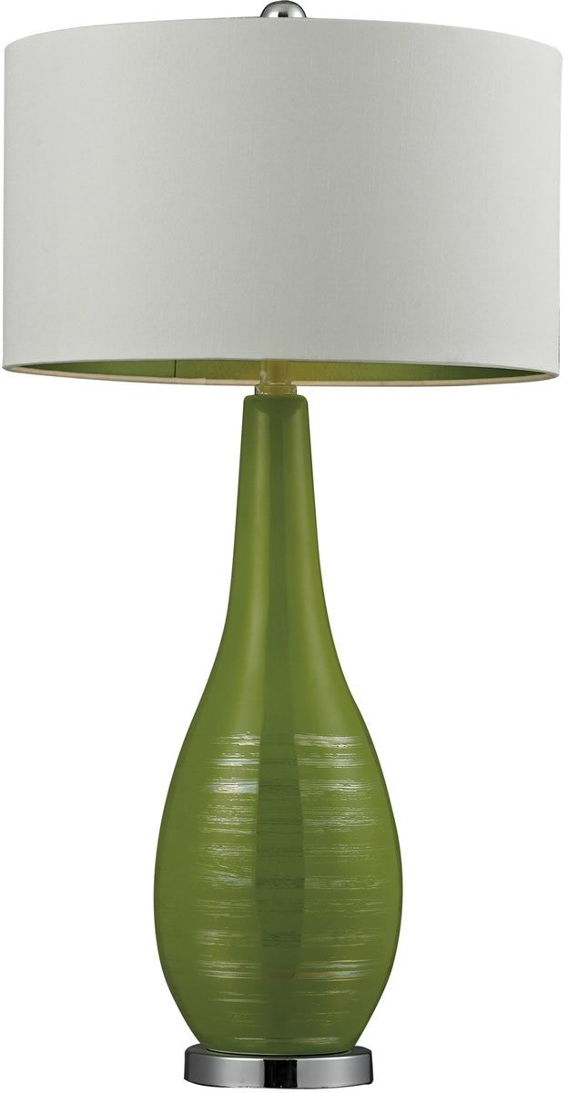 1-Light 3-Way Table Lamp Lime Green with Silver Accents And Chrome Base