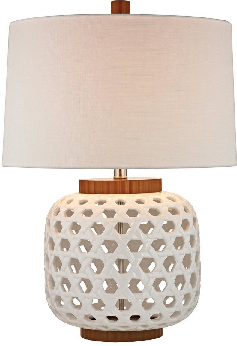Bloome 1-Light 3-Way Table Lamp White, Wood Tone