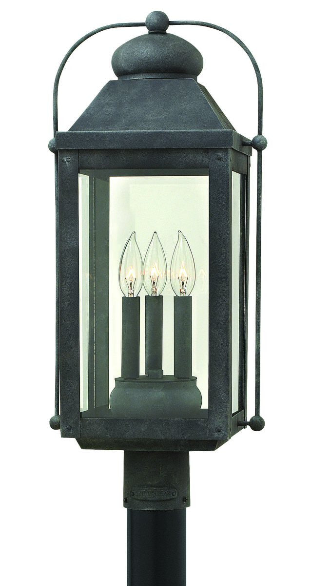 "24""H Anchorage 3-Light Outdoor Post Light Aged Zinc 1851DZ"