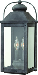 Hinkley Anchorage 2-Light Outdoor Wall Light Aged Zinc 4968OB